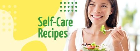 Woman Eating Healthy Meal Facebook cover Modelo de Design
