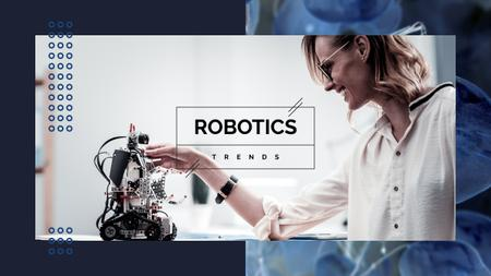 Plantilla de diseño de Woman programming robot Youtube