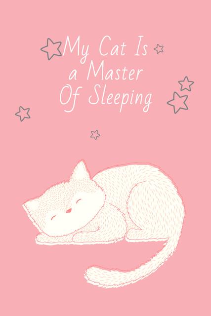 Plantilla de diseño de Cute Cat Sleeping in Pink Pinterest