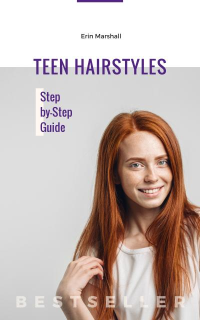 Designvorlage Hairstyles Guide Young Redhead Woman für Book Cover
