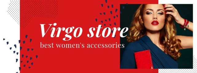 Fashion store ad with Woman in Red and Blue Facebook cover Tasarım Şablonu