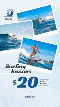 Surfing Lessons Ad Man Riding Big Wave in Blue | Stories Template