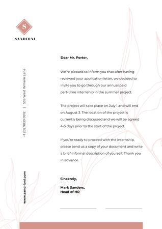 Business Company Internship official response Letterhead Modelo de Design