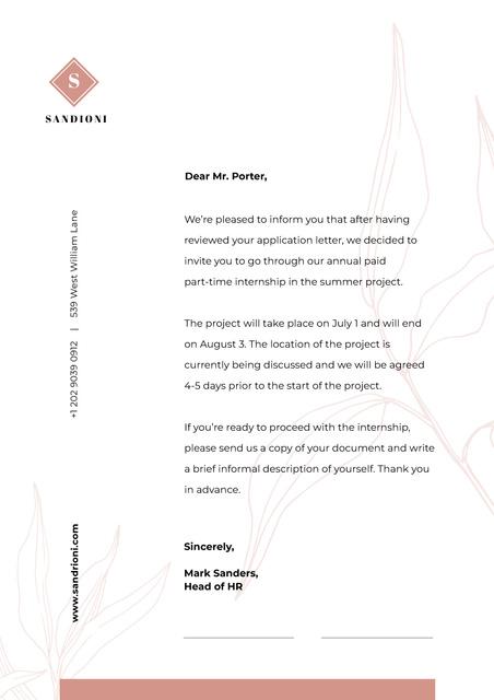 Business Company Internship official response Letterhead Design Template