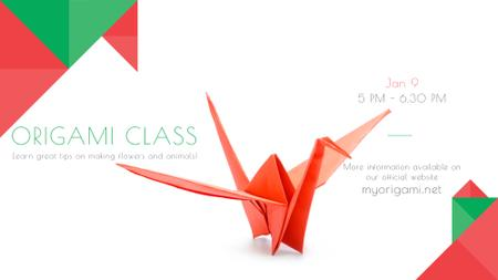Modèle de visuel Origami Classes Invitation Paper Bird in Red - FB event cover