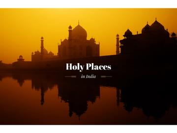 Holy places in India banner with temple