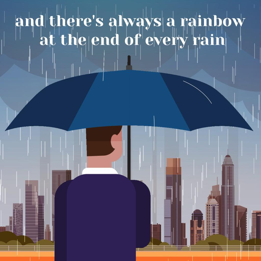 Man with umbrella under rain looking at city — Create a Design