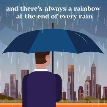 Man with umbrella under rain looking at city
