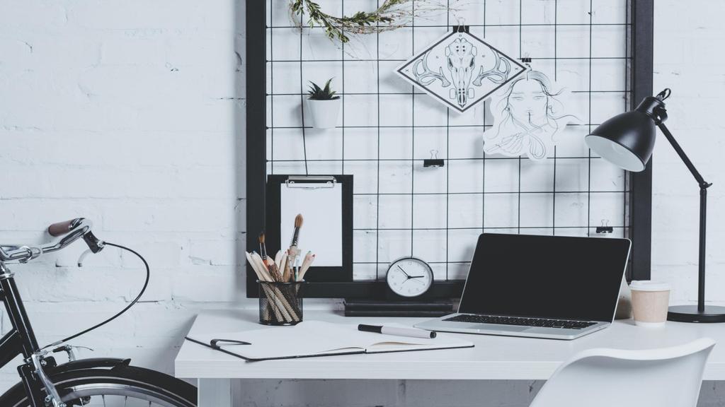 Modern Home Workplace Interior Zoom Background – шаблон для дизайна
