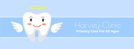 Plantilla de diseño de Dental clinic Cartoon tooth angel Facebook Video cover