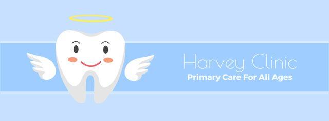 Ontwerpsjabloon van Facebook Video cover van Dental clinic Cartoon tooth angel