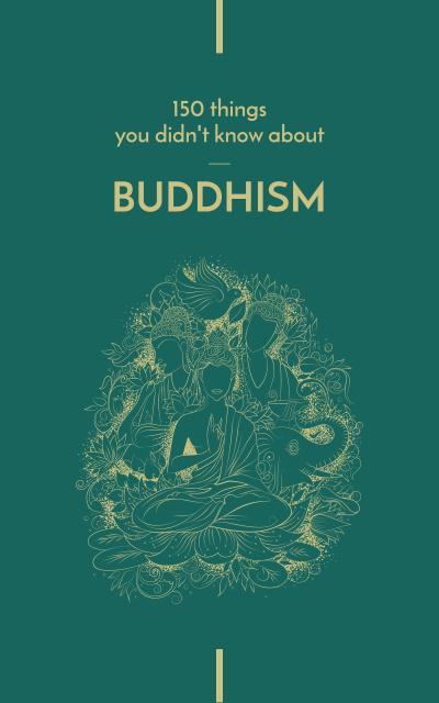 Designvorlage Buddha statue with religious symbols für Book Cover