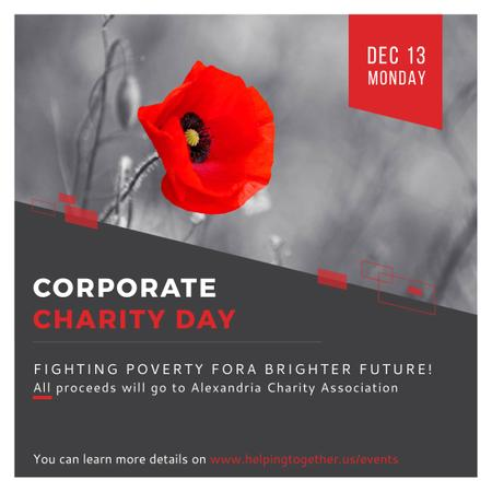 Corporate Charity Day announcement on red Poppy Instagram AD Modelo de Design