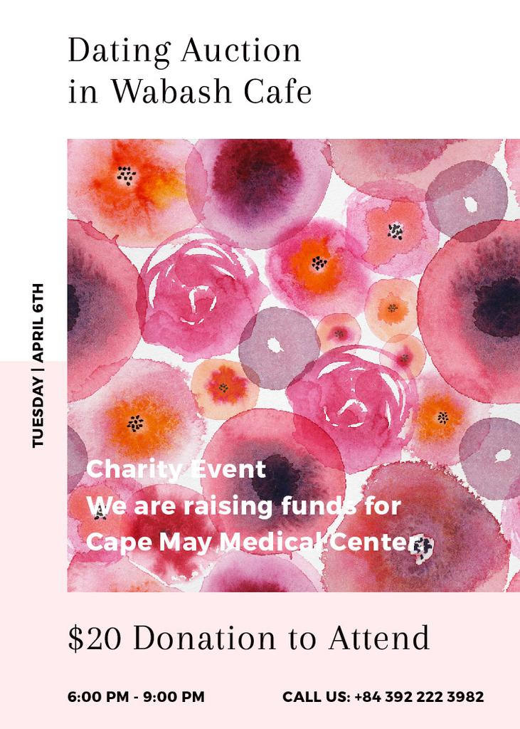 Szablon projektu Dating Auction announcement on pink watercolor Flowers Invitation