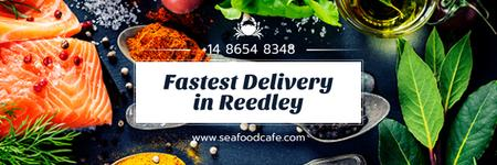 Delivery Offer for Seafood Cafe Email header Modelo de Design