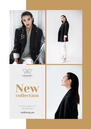 Template di design Female Clothes Ad with Woman in Monochrome Outfit Poster