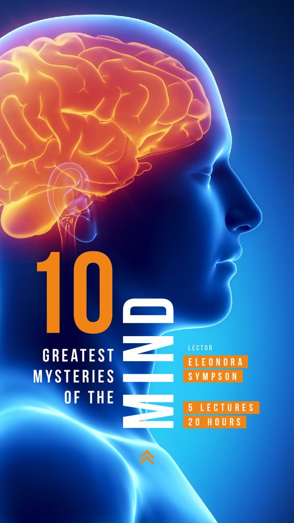 Designvorlage Scientific Event Announcement Glowing Human Brain für Instagram Story