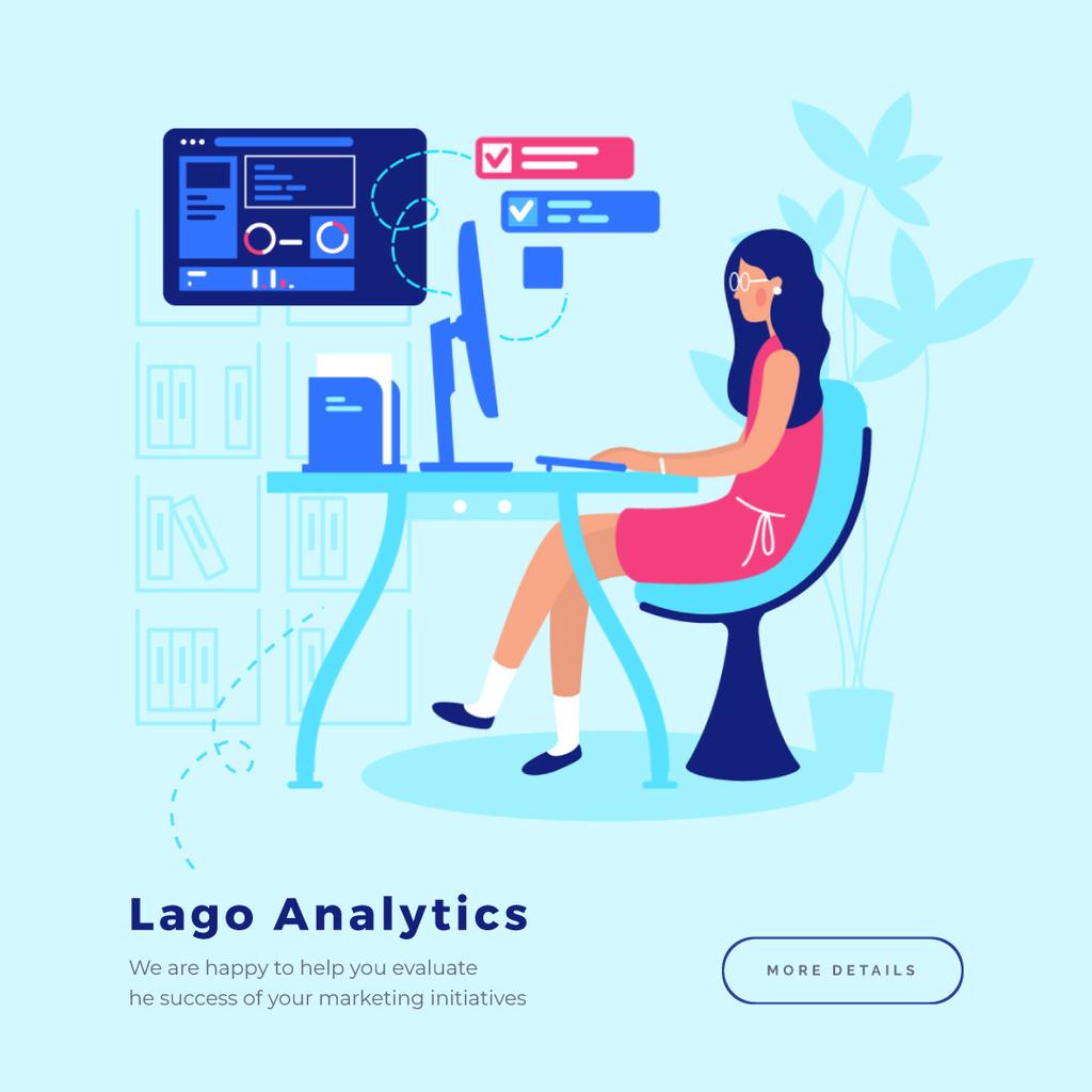 Woman working on computer — Maak een ontwerp