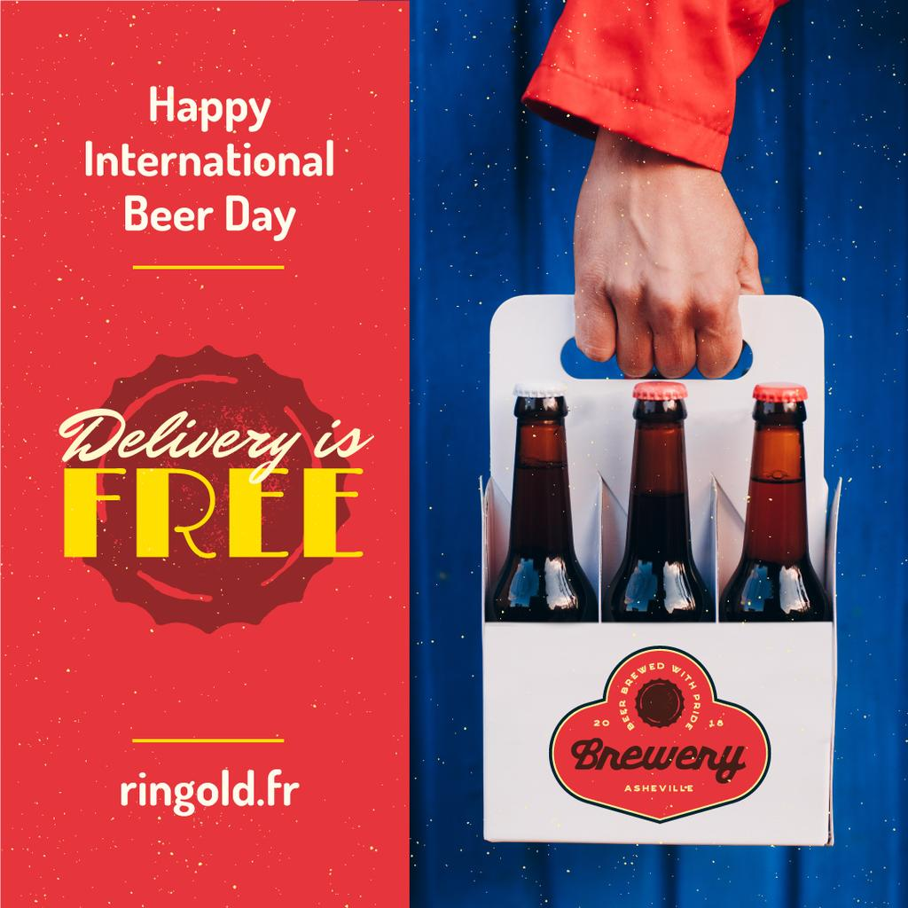 Beer Day Greeting with Courier Delivering Bottles — ein Design erstellen