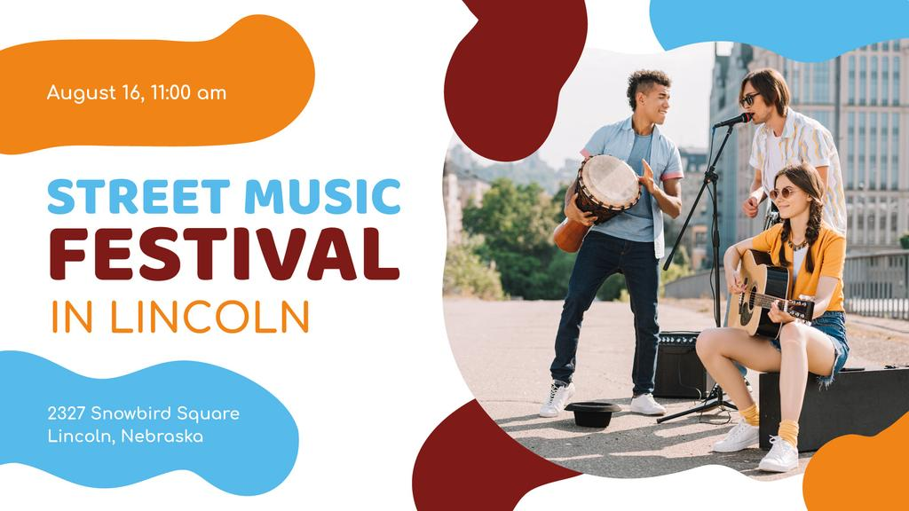 Street Music Festival Young Musicians Performing | Facebook Event Cover Template — Créer un visuel
