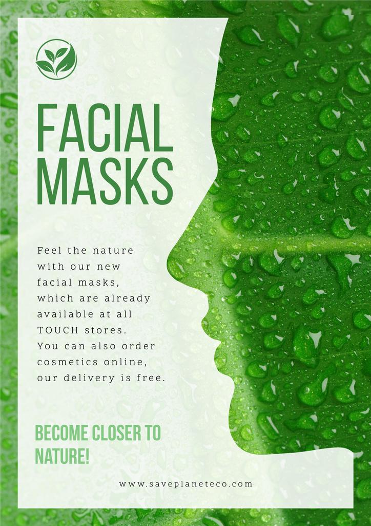 Facial masks advertisement with Woman green  silhouette — Создать дизайн