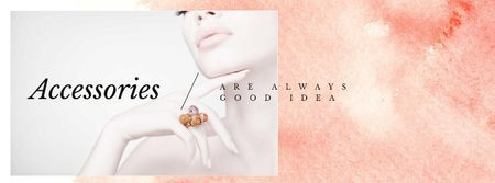 Plantilla de diseño de Jewelry Sale Woman in Precious Rings Facebook cover