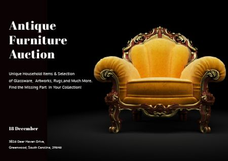 Ontwerpsjabloon van Postcard van Antique Furniture Auction Luxury Yellow Armchair