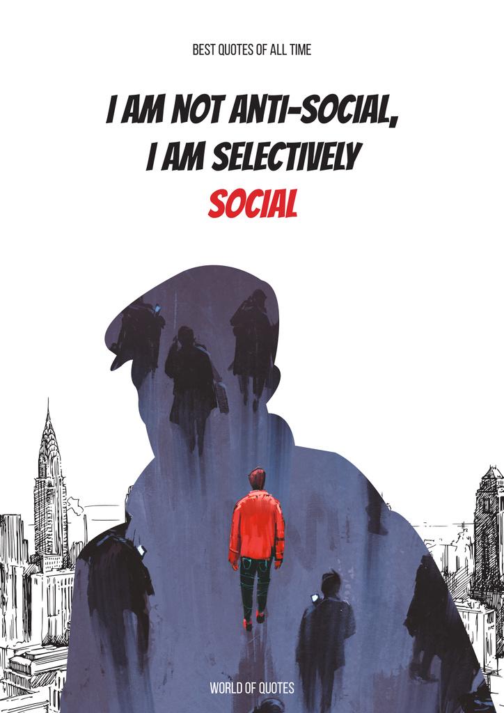 Social quote with Man silhouette — Crea un design