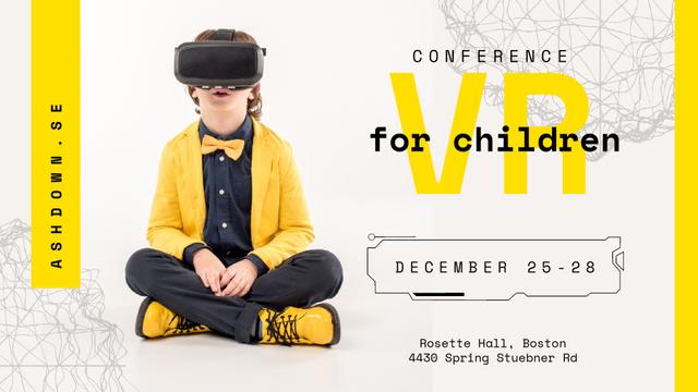 Boy in VR glasses Full HD video Modelo de Design