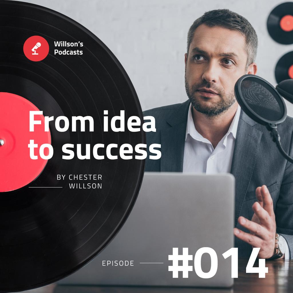 Business Podcast Ad Businessman Talking by Laptop — Maak een ontwerp