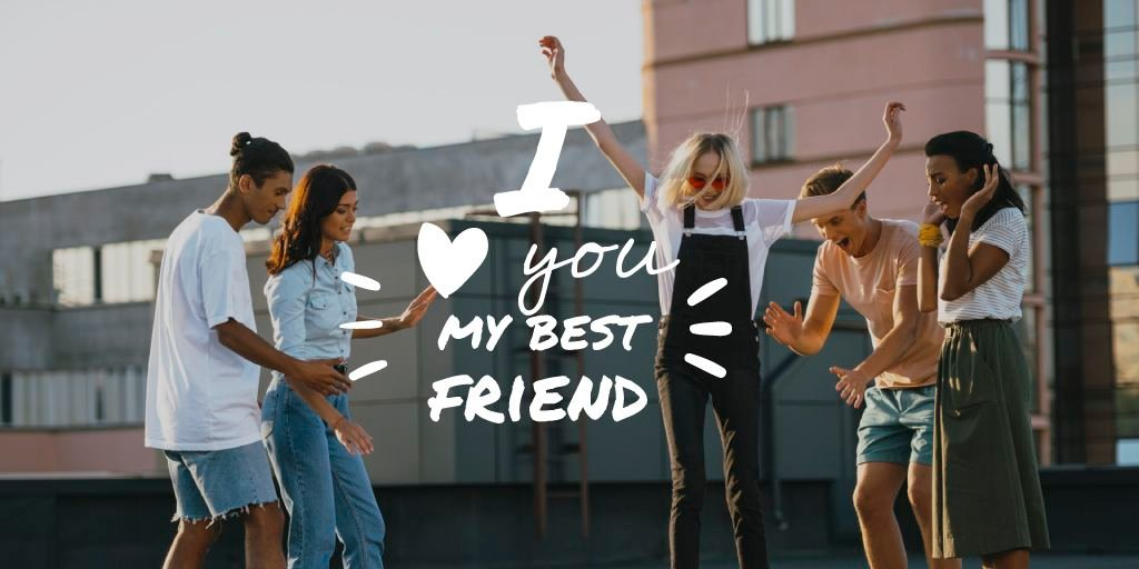 Friendship Quote with Young People Having Fun — ein Design erstellen