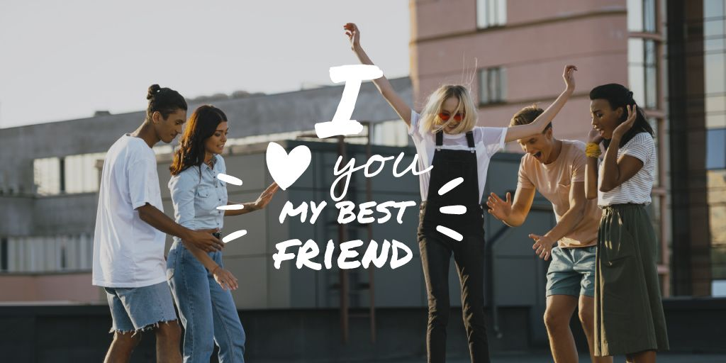 Friendship Quote with Young People Having Fun — Maak een ontwerp