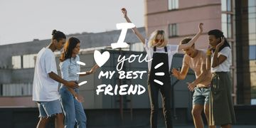 Friendship Quote Young People Having Fun