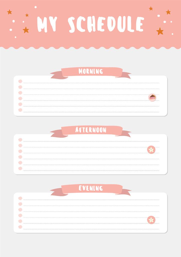 Pink Schedule Planner with Stars — Crear un diseño