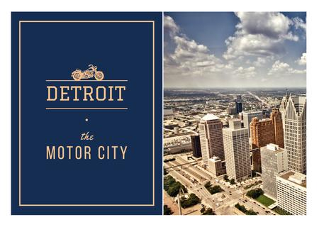 Ontwerpsjabloon van Postcard van Detroit city view