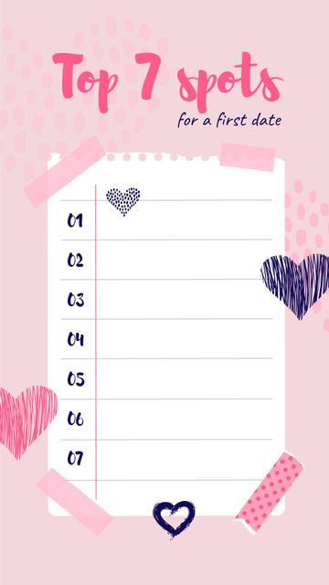 Spots list for a first Date Instagram Story – шаблон для дизайну