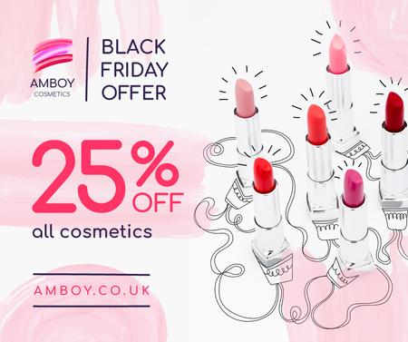 Plantilla de diseño de Black Friday Cosmetics Sale Lipsticks in Pink Facebook