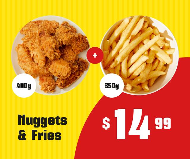 Ontwerpsjabloon van Facebook van Fast food menu offer nuggets and fries