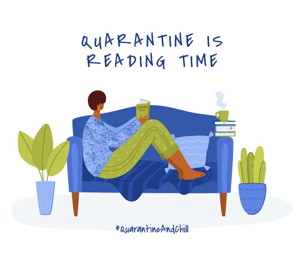 #QuarantineAndChill Woman reading Books in cosiness armosphere — Створити дизайн