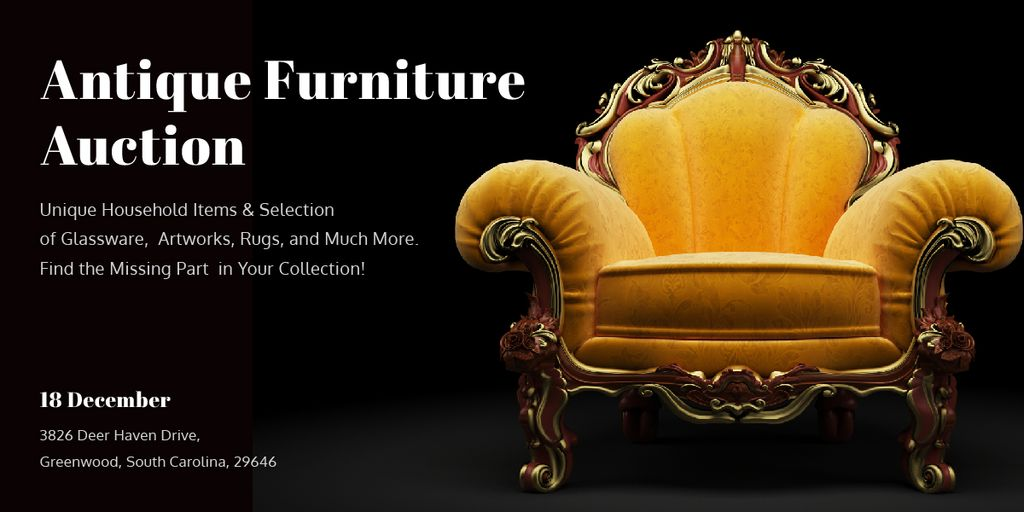 Plantilla de diseño de Antique Furniture Auction Luxury Yellow Armchair Image