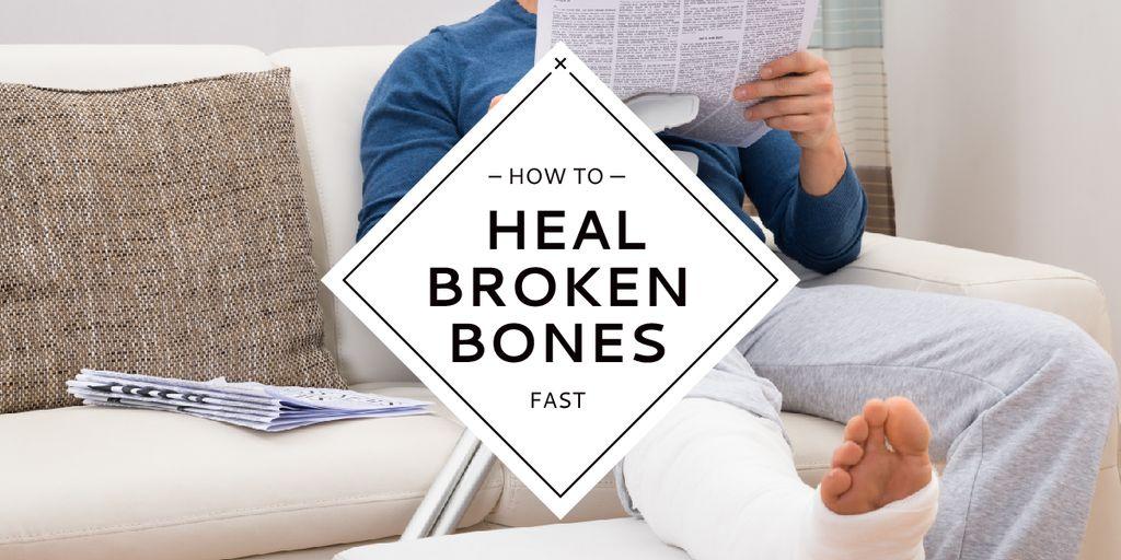 Man with broken bones sitting on sofa reading newspaper — Crea un design