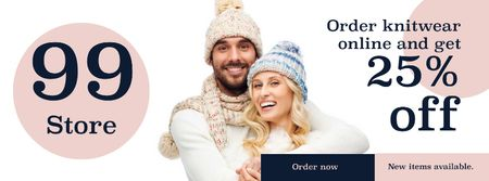 Plantilla de diseño de Online knitwear store with smiling Couple Facebook cover