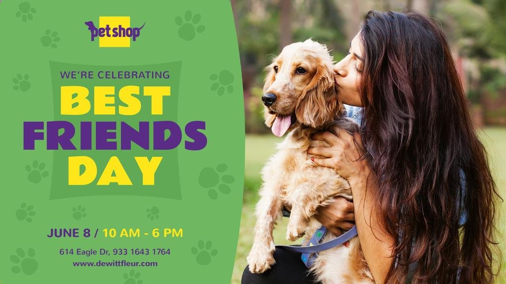 Best Friends Day Celebration Girl Kissing Her Dog | Facebook Event Cover Template — Створити дизайн
