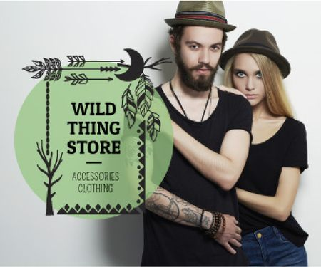 Fashion Store Ad Young Couple in Black Outfits Large Rectangle Design Template