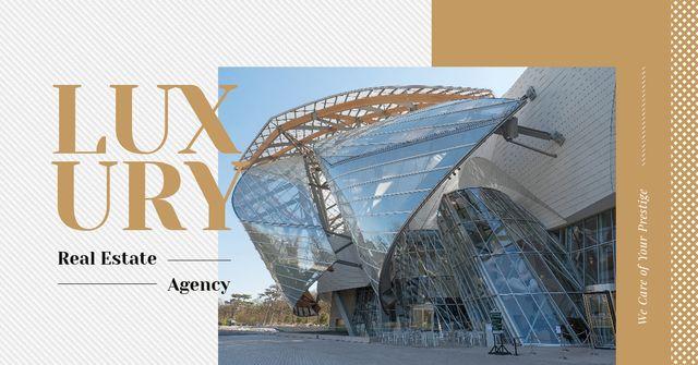 Plantilla de diseño de Luxury Real Estate Ad Modern Glass Building Facebook AD