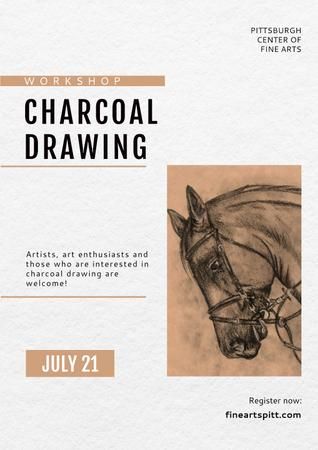 Charcoal Drawing with Horse illustration Poster Modelo de Design
