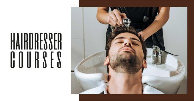 Modèle de visuel Hairdressing Courses stylist with client in Salon - Facebook AD