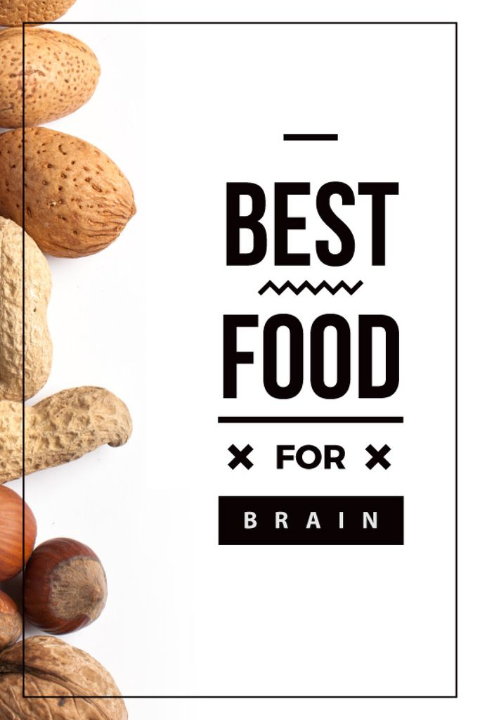 best food for brain background with nuts — Створити дизайн