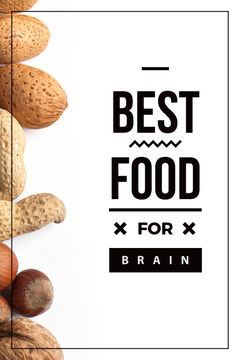 best food for brain background with nuts