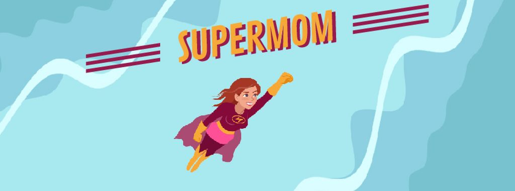 Superwoman Flying in the Sky | Facebook Video Cover Template — Maak een ontwerp